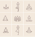 yoga icons vector image vector image