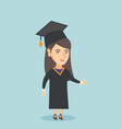 young caucasian graduate giving thumb up vector image vector image