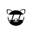 silhouette happy cat head cute animal with vector image