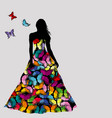 colorful silhouettes of woman with butterflies vector image