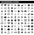100 banking icons set simple style vector image vector image