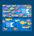 abstract colorful fish icons in flat style vector image vector image