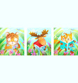animals reading books in forest poster collection vector image
