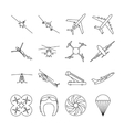 Aviation thin line icons set vector image vector image