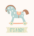 baby shower invitation it s a boy cute toy horse vector image