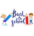 back to school inscription and ute kids with vector image