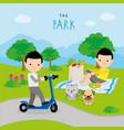 boy play activity relax park cartoon vector image vector image