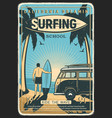california surfing school retro poster vector image vector image