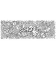 cartoon cute doodles school word colorful vector image vector image
