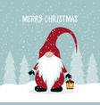 christmas card with cute gnome vector image vector image