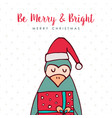 christmas santa claus penguin cartoon holiday card vector image vector image