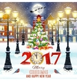 Christmas winter city street vector image vector image