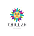 colorful modern traditional ethnic sun face logo vector image vector image