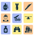 combat icons set collection of cutter bombshell vector image vector image
