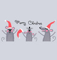cute gray rats in santas hats wish merry christmas vector image vector image