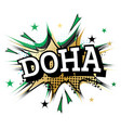 doha comic text in pop art style vector image vector image