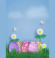 easter day with egg in grasspaper art and craft vector image vector image
