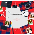 Fashionista template with accessories vector image