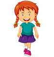 Girl in blue shirt vector image