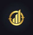 gold round business finance arrow logo vector image vector image