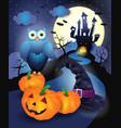 halloween background in blue vector image