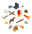 hunting isometric 3d icons vector image vector image