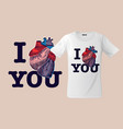 i love you print on t-shirts sweatshirts and vector image