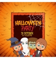 Kid poster halloween party costume design isolated