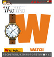 letter w from alphabet with cartoon watch object