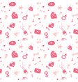 love and valentine day seamless pattern hand vector image vector image