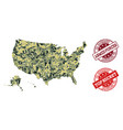 military camouflage collage of map of usa vector image vector image