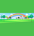 modern downtown landscape with rainbow after rain vector image