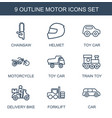 motor icons vector image vector image