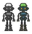 old flat style robot set on white background vector image vector image