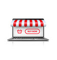 online shopping concept realistic open laptop vector image