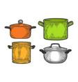 pan casserole pot set sketch engraving vector image