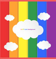 paper cut style lgbt pride color bar with clouds vector image