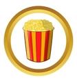 Popcorn in striped bucket icon vector image vector image