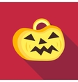 Pumpkin on halloween icon flat style vector image