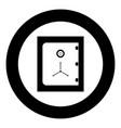 safe icon black color in circle vector image