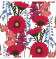 seamless patterns with gerbera delphinium vector image vector image