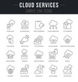 set line icons cloud services vector image vector image