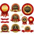 set of 100 guarantee golden labels vector image vector image