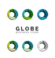 Set of globe sphere or circle logo business icons vector image