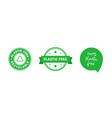 set plastic free green emblems eco friendly vector image vector image