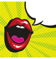 sexy open female mouth screaming pop art style vector image