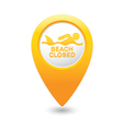 shark sighting icon yellow map pointer vector image vector image