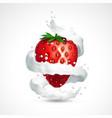 strawberry and milk splash vector image