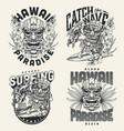 surfing vintage monochrome emblems vector image vector image