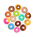 sweet cartoon donuts in round form vector image